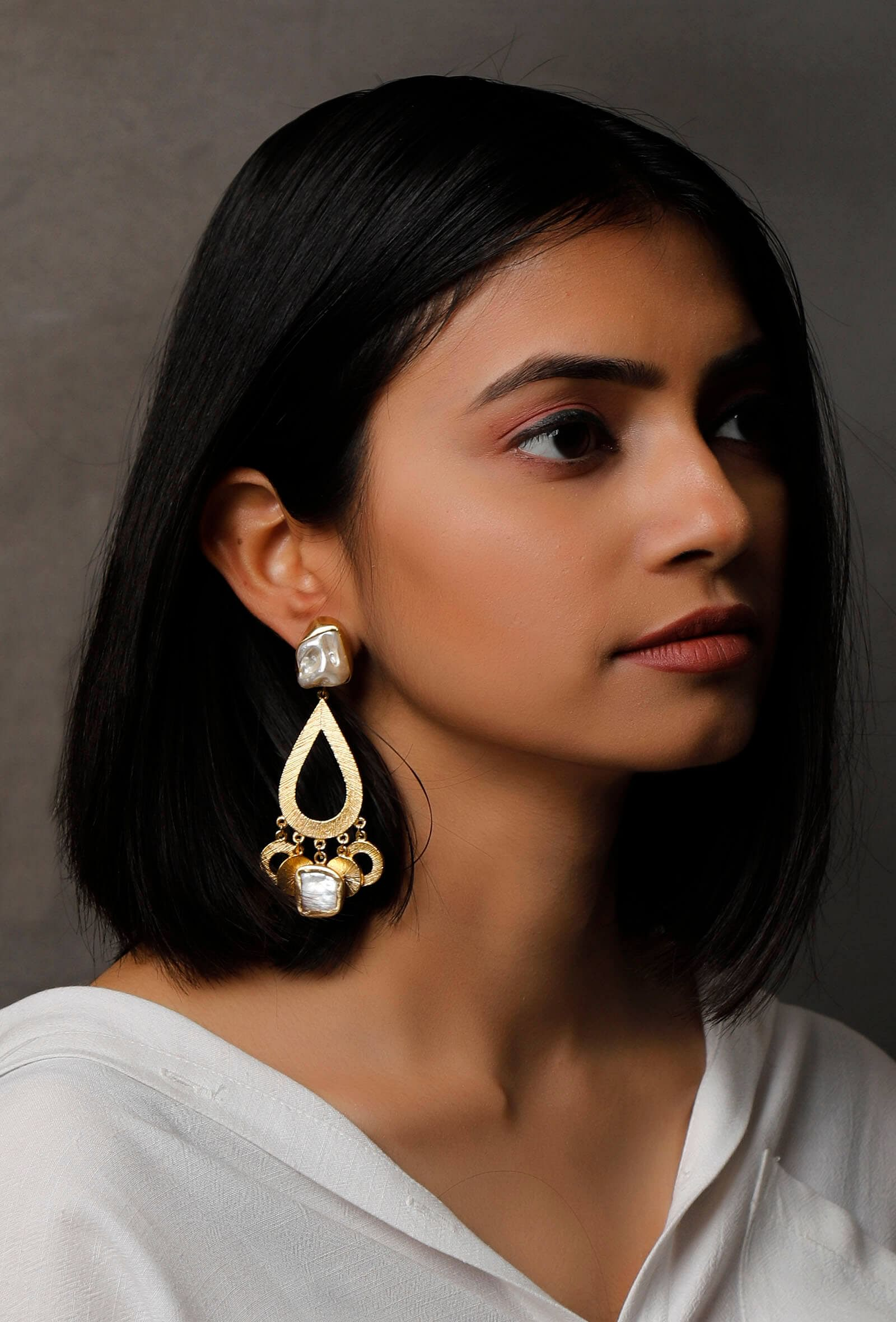 Ayla Gold-Plated Pearl Earrings