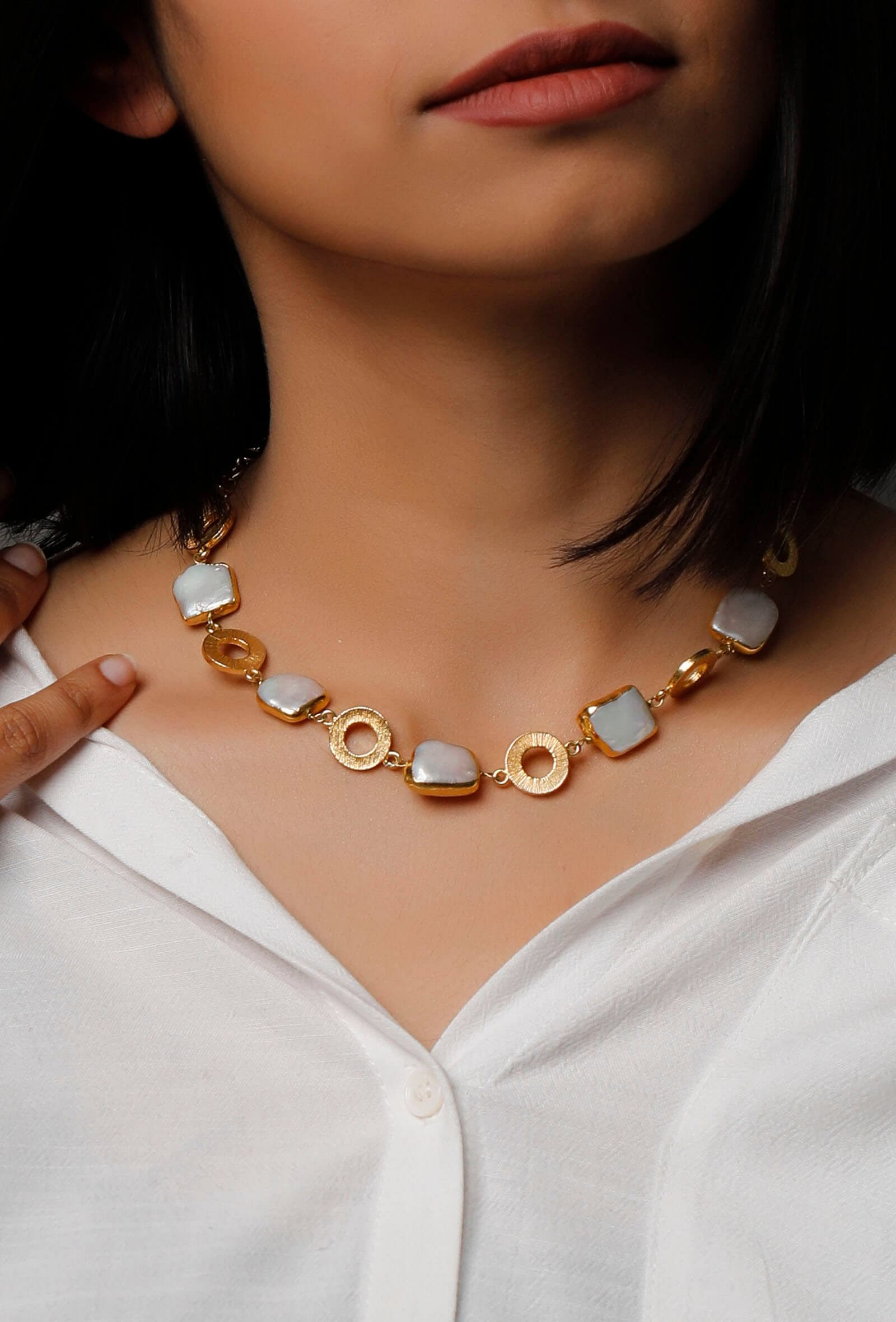 Helena Gold Plated Pearl Necklace