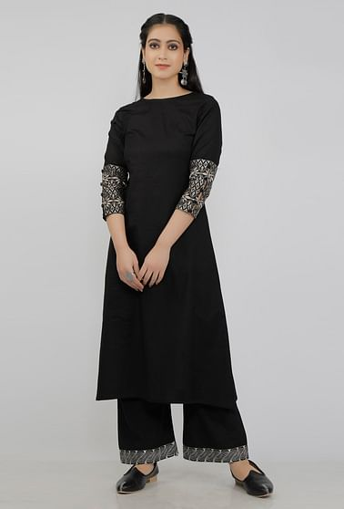 Black Kurta With Kantha Embroidery